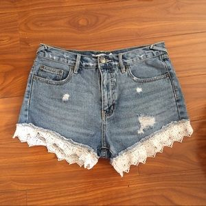 Free People Lace Trim Denim Shorts