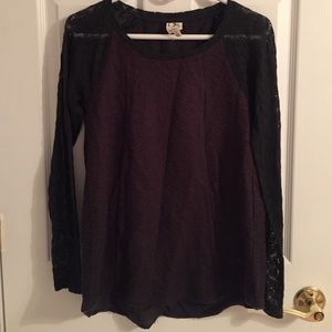 Anthropologie Mixed Media Lace Top