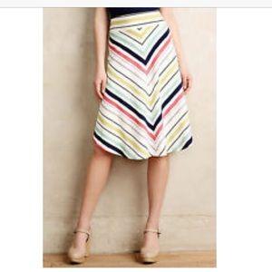Anthropologie Maeve chevron striped skirt Sz S