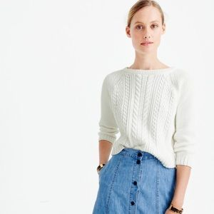 CCO❗️NWT J. Crew White Cable Knit Cropped Sweater