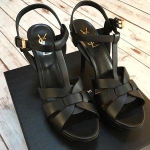Yves Saint Laurent Shoes - YSL Black Leather Tribute Platform Sandal Shoes