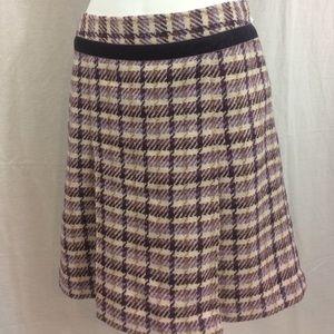 Ann Taylor LOFT Woven Purple/Cream Skirt (sz 6)