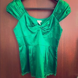 Odille Tops - Green cap sleeve blouse