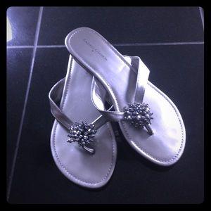 Silver pom pom sandals
