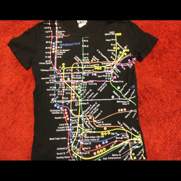 Nyc Subway Map Shirt.Nyc Subway Map Black Tee