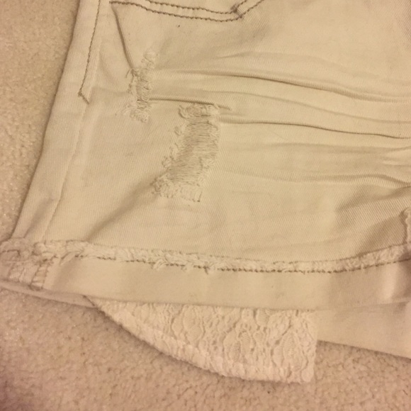 30% off Forever 21 Pants - Cream denim shorts with lace pockets ...