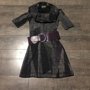 maude Sweaters - Maude black/grey/purple dress w/ belt size medium