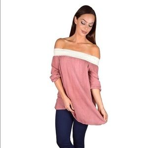 Tops - Off the shoulder pink blouse Size Small
