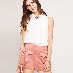Pants - Chic, Bohemian Dust Rose Suede Like Loose shorts