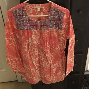 J. Crew Factory Pink Floral Embroidered Blouse