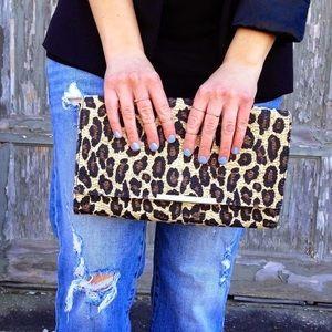 H&M straw leopard print clutch bag