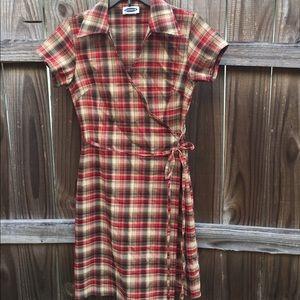 Essentials brand plaid wrap dress