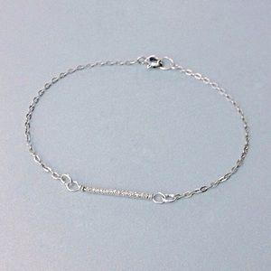 dainty sterling silver sparkly tube bar bracelet