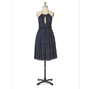 Anna Sui for Anthropologie navy blue halter dress