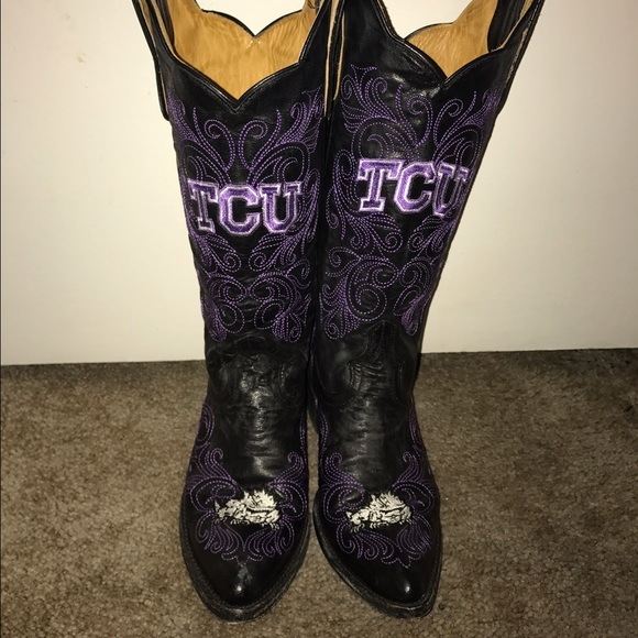 temperament shoes low priced 100% genuine Allen Boots Shoes   Black Leather Tcu Game Day Boots   Poshmark