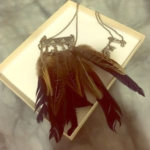 Long feather statement necklace