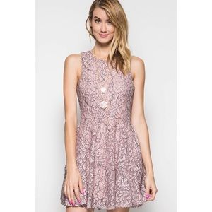 Dresses & Skirts - Short Rose Two-Tone Lace Tank Dress