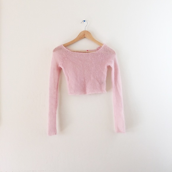 69e9a41ab99dec Juicy Couture Sweaters - Juicy Couture Baby Pink Mohair Crop Top Sweater XS