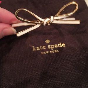 Kate Spade skinny Bow Bangle bracelet gold & cream