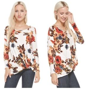 ❗️CLEARANCE❗️Ivory Floral Knot Tunic Top S M L