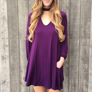 purple choker dress