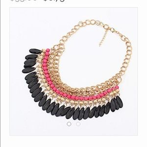 Curvy Couture Jewelry - Boho Multi Strand Necklace Pink Black Gold NWT