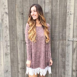 mauve lace trim sweater dress