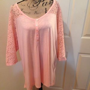 Torrid Light Pink Lace Baseball Tee