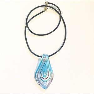 Jewelry - 📿Blue Art Glass Pendant Necklace