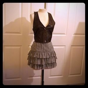 Pretty ZARA BASIC floral sheer ruffle miniskirt