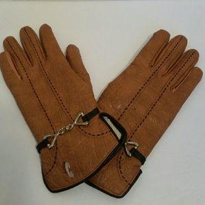 Aris Accessories - Nwot vintage Aris camel gloves w/black trim L