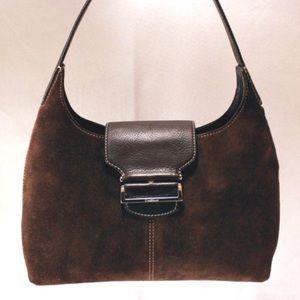 Cole Haan Handbags - COLE HAAN Suede Luxury Handbag in Deep Brown