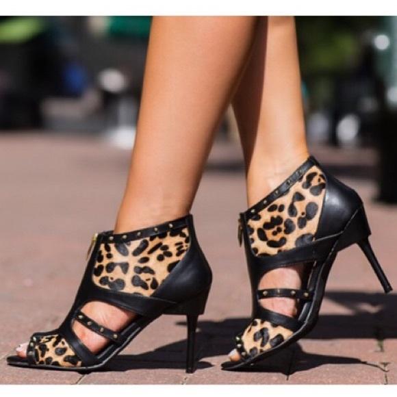 29121a33a58 Fergie Leopard Studded High Heels