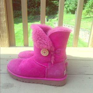 UGG Australia Hot Pink Perf Bailey Button Boots
