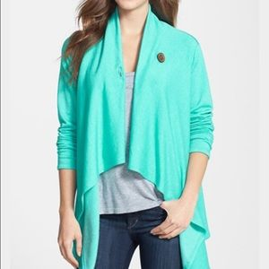 bobeau Sweaters - Bobeau One-Button Turquoise Cardigan