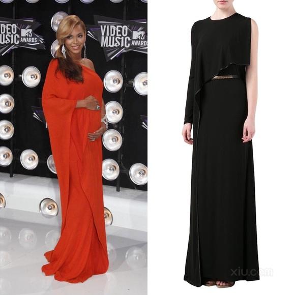 Givenchy Dresses | Orange Asymmetrical Cape Gown | Poshmark