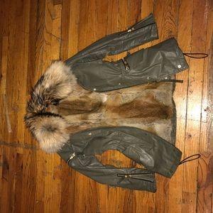 SAM. Jackets & Blazers - Sam coated jacket with detachable plush fur vest
