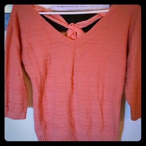 AGB Sweaters - Peach sweater with bow