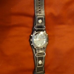 Fossil Mens Hard Rock Black Leather Watch