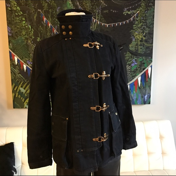 26f57203c1 Ralph Lauren black canvas denim Fireman jacket XS