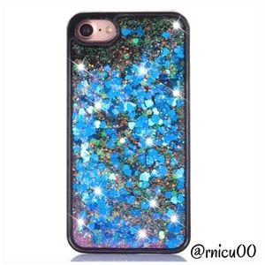 iPhone 7 Blue Heart Liquid Glitter Hardback Case!