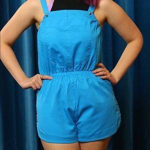 Vintage Shorts - Vintage Aqua Shortalls