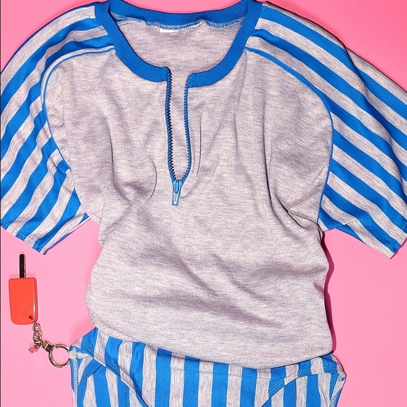 Vintage Tops - Striped Henley Bodysuit