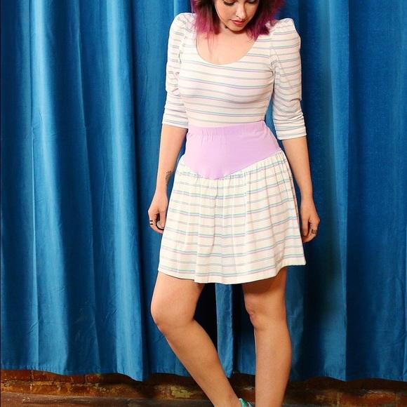 Vintage Skirts - Vintage Striped Skirt + Top