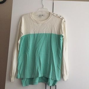 Forever 21 Sweaters - F21 color block mint green and white sweater