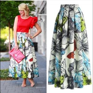 Chic wish butterfly maxi skirt