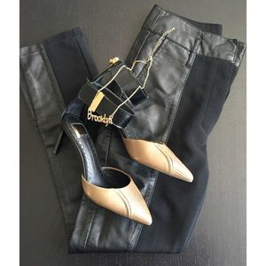 Faux Leather Paneled Leggings NWOT