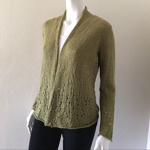 Eileen Fisher Open Front Perforated Knit Cardigan