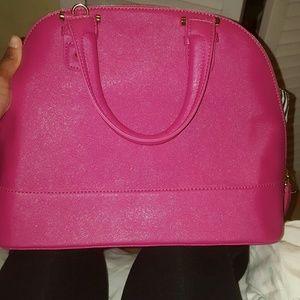 Pink top handle purse