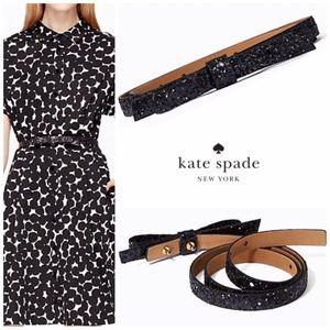 kate spade Accessories - Kate Spade Glitter Skinny Bow Belt